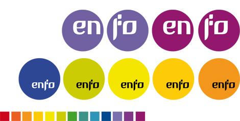 Aplicacións do logotipo de Enfo (uqui)