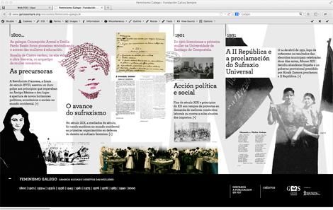 Pantallazo do microsite de Feminismo galego: cambios sociais e dereitos das mulleres (uqui)