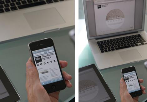 Web de Gallaecia Petrea nos distintos dispositivos móbiles (uqui)
