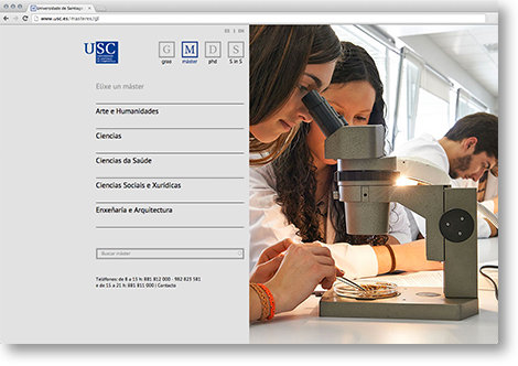 Web da USC en escritorio, por Uqui.net