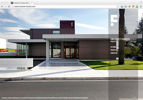 Páxina inicial do estudio de arquitectura Crecente y Fuertes, por Uqui.net